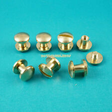 50 Set 8*4mm Solid Brass Rivet Chicago Screw for Leather Craft Cambered