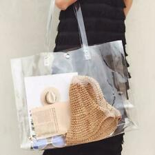 Women Girls PVC Transparent Clear Totes Handbags Large Shoulder Shopping Bags
