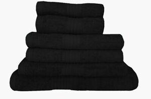 Black 100% Egyptian Cotton Towel Bale 550 GSM Towel Set Bathroom 6 & 8 Piece Set