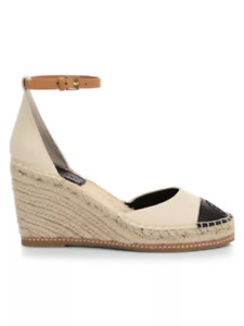 New in Box Tory Burch Espadrille Wedge Sandals color block CREAM US 7 AUTHENTIC