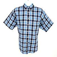 Roundtree & York Shirt Casual Button Down Mens Size L Blue Plaid Short Sleeve