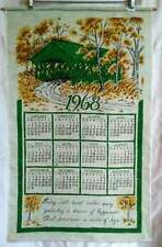 Vintage Linen 1968 Calendar Kitchen Towel Green Covered Bridge Hanging NWOT 17x2