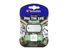 Verbatim 8GB USB Flash Drive Dog Tag Style - Black 98505 - NEW