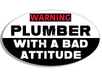 """4"""" warning plumber with a bad attitude car bumper sticker decal"""
