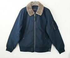 NWT Abercrombie & Fitch Men's  Sherpa Collar Bomber Jacket Navy Blue Size L