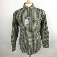 Dickies Authentic Medium Long Sleeve Button Shirt Brown White Plaid Check