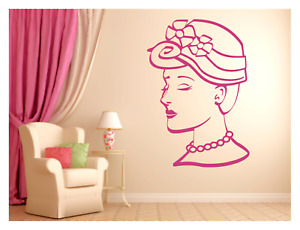 """VICTORIAN LADY WEARING HAT BEAUTY HAIR SALON SPA BEDROOM WALL DECAL MURAL 22X31"""""""