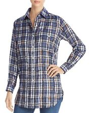 61bd5f221cc030 Burberry London Chava Scribble Check Silk Shirt Blouse Size US 4 Navy