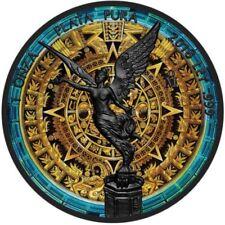 "Mexico 1 oz Libertad "" Aztec Calendar ""  Silver Ruthenium Plated Colorized Coin"