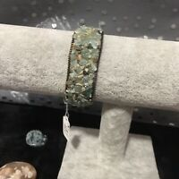 Stone Amazonite Crystal And Leather Wrap And Snap Bracelet