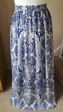 Blue White Porcelain Flared Maxi Skirt From Atmosphere Size 14 Summer Holiday D2