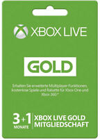 XBOX 360 ONE LIVE 3+1 MONATE / 4 Month GOLD MITGLIEDSCHAFT Card KARTE CODE Key