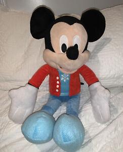 "Mickey Mouse Disney Store Snowflake Plush Winter Holiday Stuffed Animal Toy 22"""