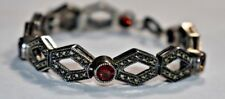JUDITH JACK sterling Silver 925 MARCASITE & Multi-Color Gemstone Bracelet 7""