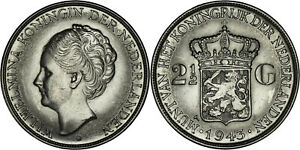 Netherlands East Indies: 2 1/2 Gulden silver 1943 D (Denver mint) - XF+
