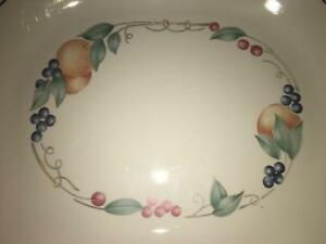 CORELLE Abundance fruit pattern country farmhouse oval serving platter 10x12""