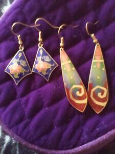 Lot of 2 vintage 80s cloisonne earrings