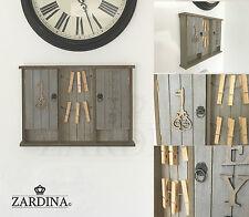Armario de clave de Madera Vintage Shabby Chic Caja de almacenamiento montado en la pared con Clavijas Memo