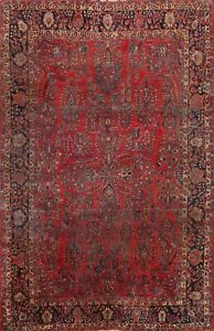 Antique RED Floral Sarouk Vegetable Dye Area Rug Hand-knotted Wool Oriental 9x12