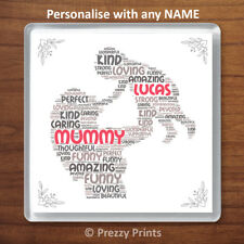 Personalised Word Art Mother and Child Drinks Coaster For Mummy Mothers Day Gift