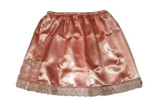 Light Orange Mini Satin Underskirt UK SIZE 6-18 Glossy Sissy Waist Half Slip