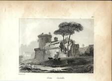 Stampa antica OSTIA veduta del Castello Roma 1834 Old print Engraving Rome