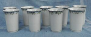 Set 9 OLD Czechoslovakia Ceramic Juice Drink Glasses Cups Blue & White Pretty