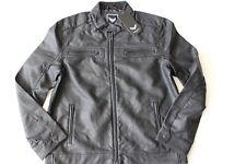 Boohoo Man Grandad Collar Multi Zip PU Biker Jacket Black Size L