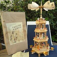 Crèche Animée  Bois Vintage Tourne Avec 6 Bougies 57 Cm -Boîte - Mode d' Emploi