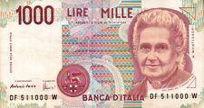 BANCONOTA ITALIANA DA 1000 LIRE MONTESSORI SERIE DF 511000 W SC-7
