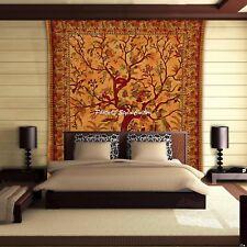 Indian Mandala Orange Tree Of Life Wall Hanging Tapestry Throw Decor Bedspread