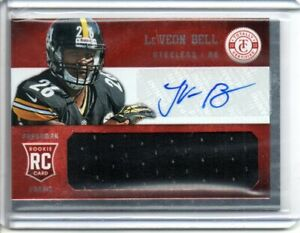 2013 LE'VEON BELL PANINI TOTALLY CERTIFIED FRESHMAN FABRIC AUTO JSY RC #d/299