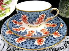 ROYAL WORCESTER tea cup and saucer trio blue & floral older chintz band teacup