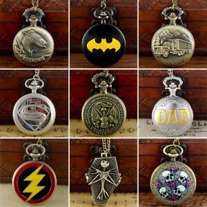 Steampunk Retro Design Pocket Watch Necklace Chain Pendant Gift Quartz Movement