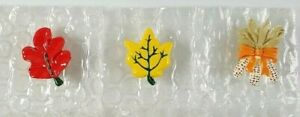 """Vintage Autumn Fall Button Covers Leaves Corn Wreath Plastic 1"""" Lot of 3 NEW"""