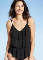 Women's Tiered Tankini Swimsuit Top - Aqua Green, Black, Sz L