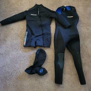Henderson 7mm 2 Piece Wet Suit & Hood Scuba Diving Wetsuit Mens Large