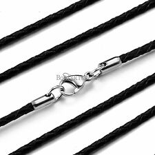 "2.8mm Twisted Braided Rope Black Leather Cord Chain 22"" Necklace w Silver Clasp"