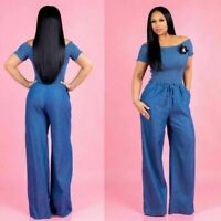 Women Off Shoulder Short Sleeve Blue Jeans Denim Jumpsuit Fall Casual Loose Pant
