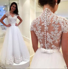 New White/Ivory Lace Applique Wedding Dresses A-Line Bridal Gown Size Custom