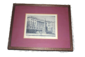 """Don Swann Signed Original Print Etching  """"The Battle Monument and the Law Court"""""""