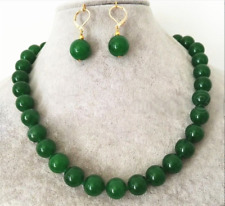 AAA+ 8/10/12mm Natural Green Jade Round Gemstone Beads Necklace Earring Set
