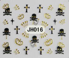 Halloween Black Skull Cross Gold Rhinestons Crowns 3D Nail Arts Stickers Decals
