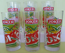 LOT DE 6 VERRES JUS DE FRUIT JOKER , COULEUR , JF3 *