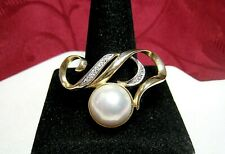 14K YELLOW GOLD ROUND MABE PEARL WITH DIAMONDS SWIRL COLLAR PENDANT 7 GRAMS