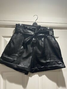 Women's Ladies PU Faux Leather High Waist Tie Up Belted Pockets Paper Bag Shorts