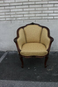 Elegant 19th C. French Louis XV Carved Walnut Bergere Chair, New Upholstery