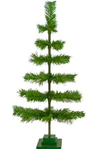 24'' Alpine Green Christmas Tree Tinsel Feather Style Holiday Tree 2FT Table-Top