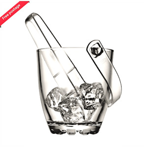 Small Glass Ice Bucket with Tongs Carry Handle Whisky Vintage Retro Crystal