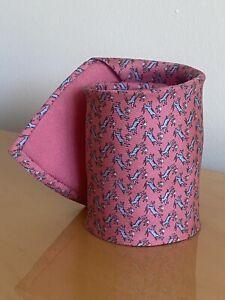 Hermes Paris Made In France Rose/Gris Whimsical Deer Pattern Silk Tie 5564 MA